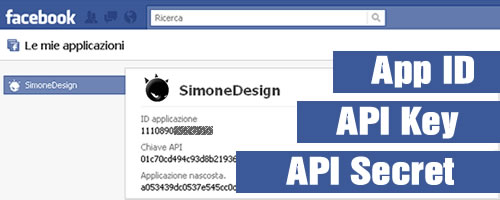 Applicazioni Facebook App ID API Key API Secret