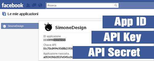 Applicazioni Facebook App ID API Key API Secret