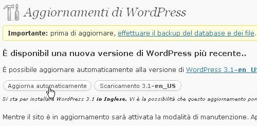 Aggiornamento versione WordPress