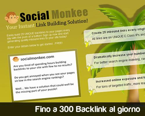 Fino a 300 backlink al giorno con SocialMonkee