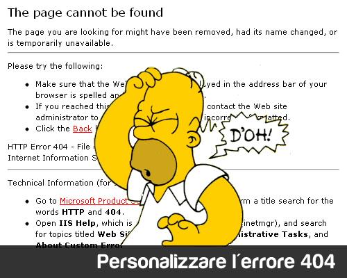 Personalizzare la pagina di errore 404