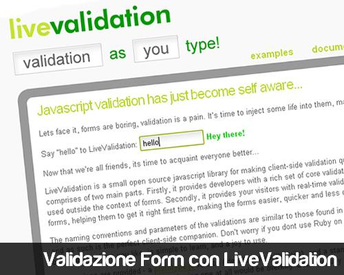 Validazione Form con LiveValidation