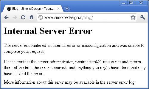 Messaggio Errore 500 Internal Server Error