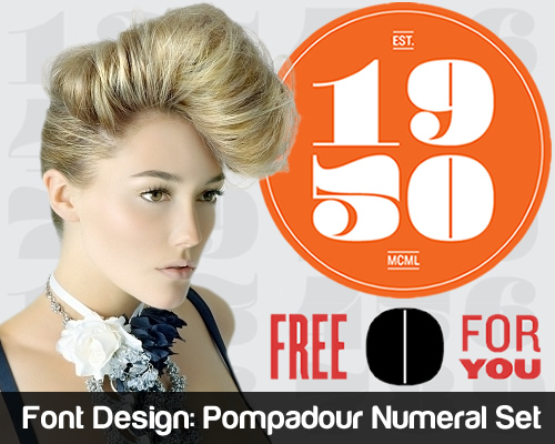 Font Design - Pompadour Numerals Set